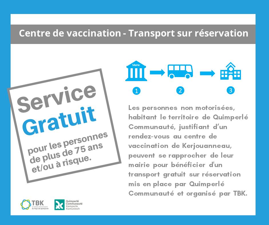 Centre de vaccination – Transport TBK gratuit sur réservation à la mairie –